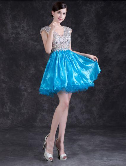 Glittrig Cocktailklänning Backless Kristall Festklänning Med Paljetter För 2016 Nyårsafton