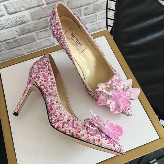 Charming Blushing Pink Evening Party Crystal Pumps 2020 Leather Rhinestone 8 cm Stiletto Heels Pointed Toe Pumps