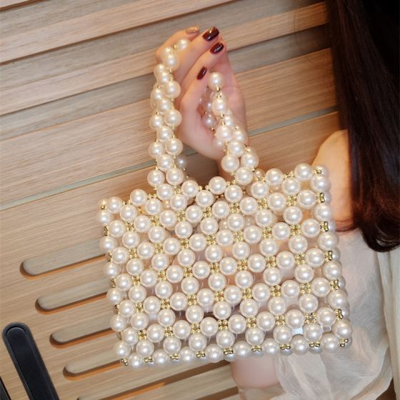 Luxury / Gorgeous Ivory Beading Pearl Clutch Bags 2018