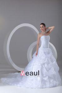 Organza Profilering Rufsar Alskling Domstol Tag Balklänning Brudklänningar Bröllopsklänningar