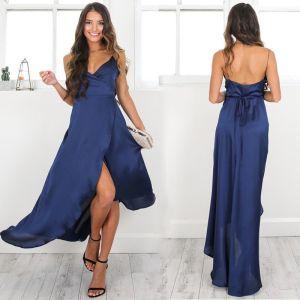 Haute Basse Bleu Roi Été Robes longues 2018 Bretelles Spaghetti Sans Manches Dos Nu Asymétrique Fendue devant Vêtements Femme