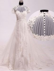 2015 Palace Vintage A-line High Neck Beading Appliques Lace Wedding Dress