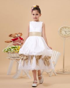Satin Lace Bowknot Flower Girl Dresses