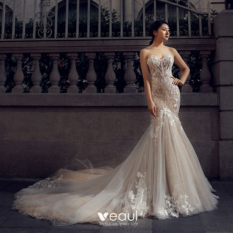Charming Champagne Wedding Dresses 2018 Trumpet / Mermaid