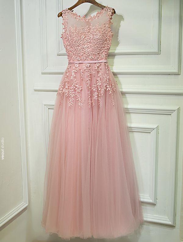 Evening Dresses 2017 Scoop Neckline Applique Lace Beading Pearl Pink Long Dress