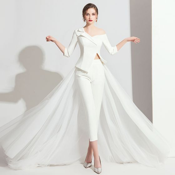 Modern Witte Jumpsuit 2019 Een Schouder 3/4 Mouwen Sweep Trein Ruglooze Avondjurken