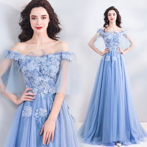 Chic / Beautiful Sky Blue Evening Dresses  2019 A-Line / Princess Off-The-Shoulder Lace Flower Pearl Rhinestone Short Sleeve Backless Floor-Length / Long Formal Dresses