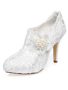 Luxus Braut Ankle Boots 2016 Stilettos High Heels Weiße Spitze Brautschuhe Mit Perle
