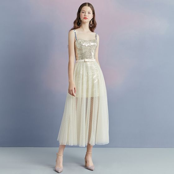 4e77b9c4cf3 Sparkly Champagne Summer Homecoming Graduation Dresses 2018 A-Line    Princess Shoulders Sleeveless Sequins Bow Sash Spotted ...