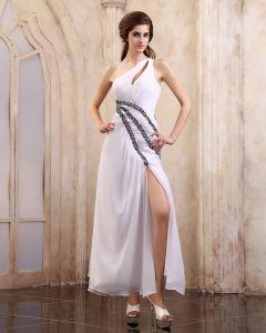 Chiffon Sicke Rüschen Ein Schultergurt Knöchellangen Abendkleid