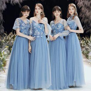 Abordable Bleu Ciel Transparentes Robe Demoiselle D'honneur 2020 Princesse Dos Nu Appliques En Dentelle Longue Volants