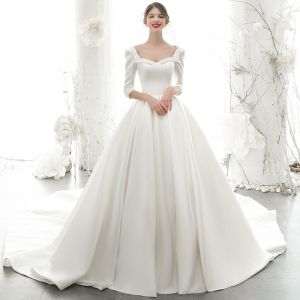 Vintage / Retro Ivory Satin Bridal Wedding Dresses 2020 Ball Gown Square Neckline 3/4 Sleeve Backless Beading Pearl Chapel Train Ruffle