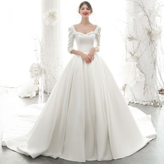 Vintage / Retro Ivory Satin Bridal Wedding Dresses 2020 Ball Gown Square Neckline 3/4 Sleeve Backless Beading Pearl Chapel Train Ruffle