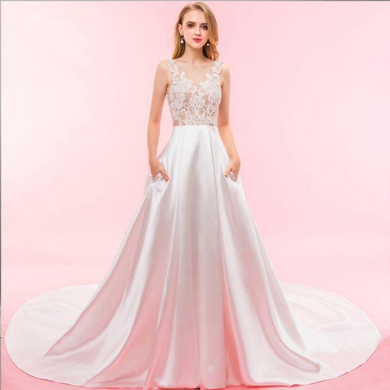 Mode Ivory / Creme Hochzeit Kathedrale Schleppe 2018 Charmeuse U-Ausschnitt Durchsichtige Schnüren Rückenfreies Durchbohrt Empire Brautkleider