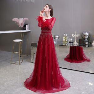Elegant Burgundy See-through Evening Dresses  2020 A-Line / Princess Square Neckline Long Sleeve Feather Sequins Beading Sash Sweep Train Ruffle Formal Dresses