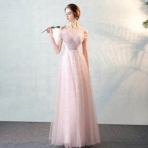 Chic / Beautiful Blushing Pink See-through Evening Dresses  2018 A-Line / Princess Scoop Neck Strapless Short Sleeve Sash Floor-Length / Long Ruffle Formal Dresses