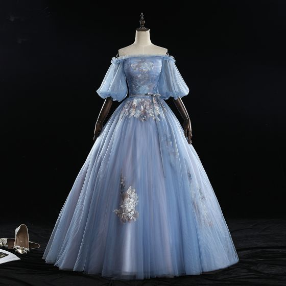Chic / Beautiful Sky Blue Prom Dresses 2019 Ball Gown Off-The-Shoulder Bow Lace Flower Ruffle Short Sleeve Backless Floor-Length / Long Formal Dresses