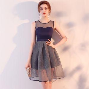 Modern / Fashion Navy Blue Party Dresses 2017 A-Line / Princess Scoop Neck Sleeveless Backless Pierced Short Ruffle Formal Dresses