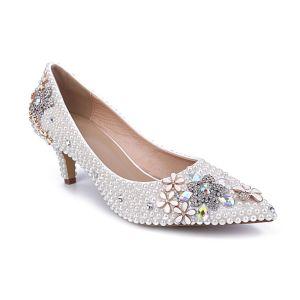 Mode Ivoire Perle Chaussure De Mariée 2020 Cuir Faux Diamant 6 cm Talons Aiguilles À Bout Pointu Mariage Escarpins