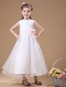 1953d2a9b7a7 Klassisk Hvit Sateng Kjoler Til Barn Blomsterpikekjoler