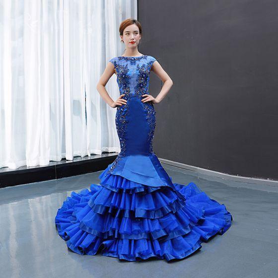 Luksusowe Królewski Niebieski Przezroczyste Sukienki Wieczorowe 2020 Syrena / Rozkloszowane Kwadratowy Dekolt Bez Rękawów Aplikacje Z Koronki Frezowanie Trenem Sąd Wzburzyć Bez Pleców Sukienki Wizytowe