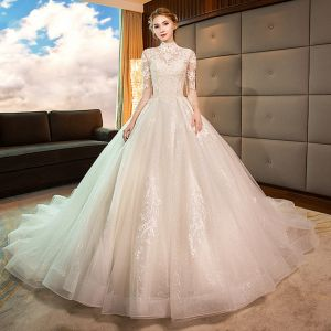 Elegant Champagne Wedding Dresses 2019 A-Line / Princess High Neck Lace Flower 3/4 Sleeve Backless Royal Train