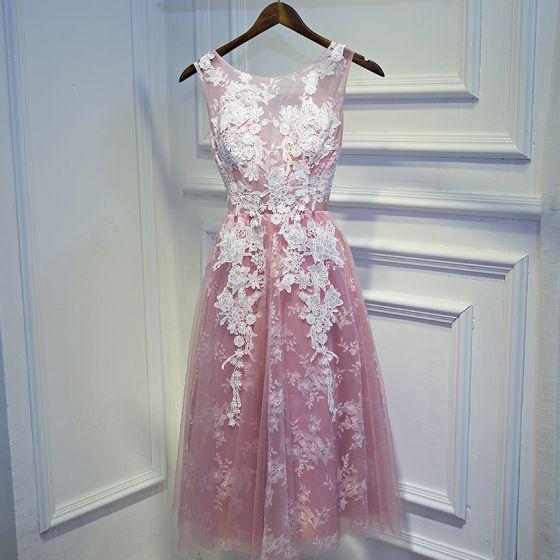 Lovely Candy Pink Graduation Dresses 2017 Lace Flower Backless Scoop Neck Sleeveless Short A-Line / Princess Formal Dresses