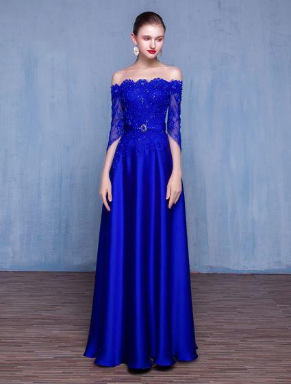 Sexy Evening Dresses 2017 Eyelashes Lace With Heavy Handmade Beading Royal Blue Dress