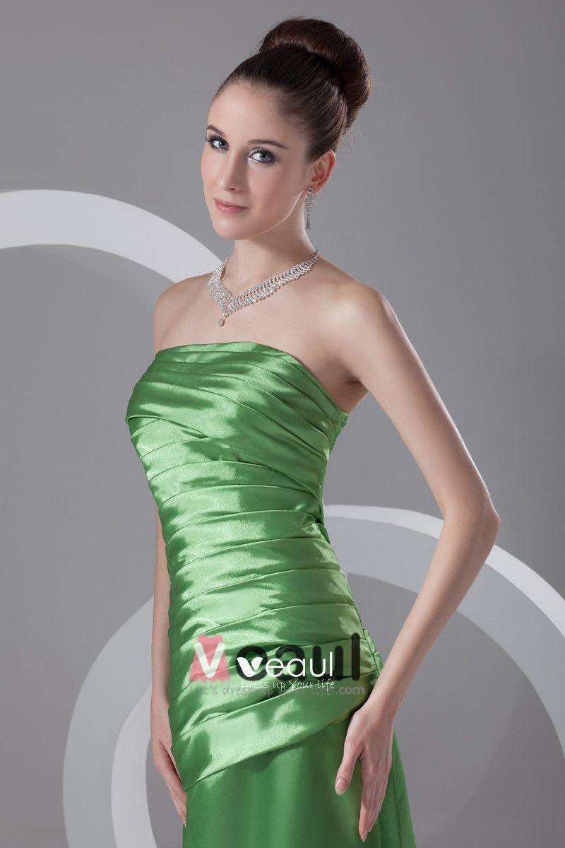 Satin Ruffle Strapless Floor Length Bridesmaid Dress