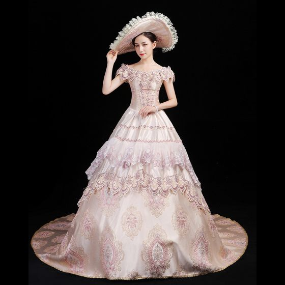 Vintage / Retro Medieval Blushing Pink Ball Gown Prom Dresses 2021 U-Neck 3D Lace Embroidered Printing Short Sleeve Prom Chapel Train Formal Dresses
