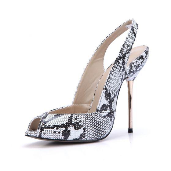 Chic / Beautiful White Street Wear Slingbacks Snakeskin Print Womens Sandals 2020 11 cm Stiletto Heels Open / Peep Toe Sandals