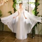 Best Ivory See-through Wedding Dresses With Shawl 2019 Trumpet / Mermaid Scoop Neck 3/4 Sleeve Backless Appliques Lace Beading Sweep Train Ruffle