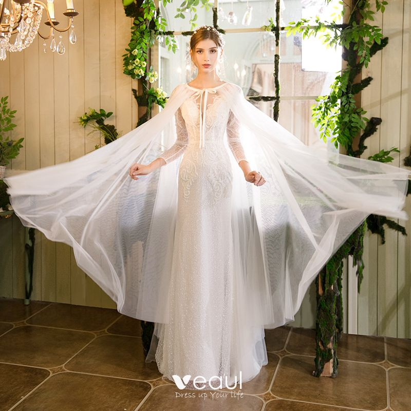 Wedding Dresses With Shawl 2019 Trumpet