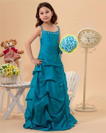 Cute Sheath Spaghetti Straps Floor Length Taffeta Flower Girl Dresses