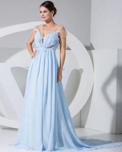 Mode Chiffon Charmeuse Seide Rüsche-gerichts-zug V-ausschnitt Kurzarm Frauen Abendkleid