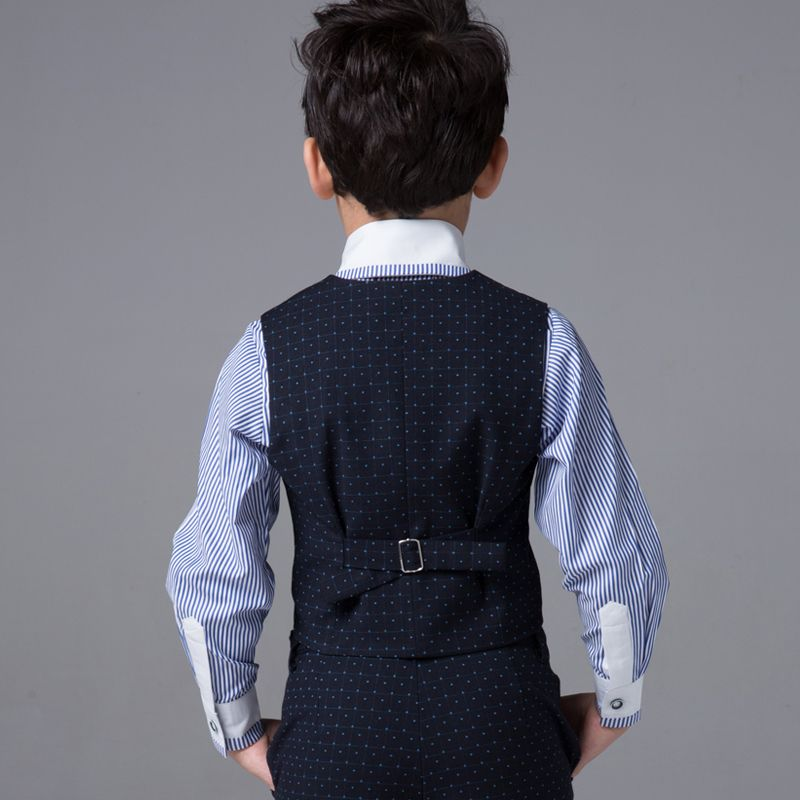 Modest / Simple Wedding Boys Wedding Suits Spotted Vest Striped Shirt 2017 Navy Blue Long Sleeve