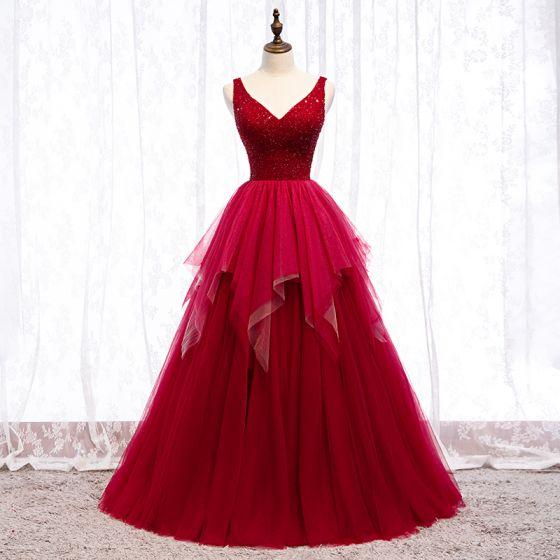 Chic / Belle Bordeaux Robe De Bal 2019 Princesse V-Cou Perlage Cristal Sans Manches Dos Nu Longue Robe De Ceremonie