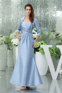 2015 Elegant Empire Strapless Ruffle Beading Long Mother Of The Bride Dresses With Shawl