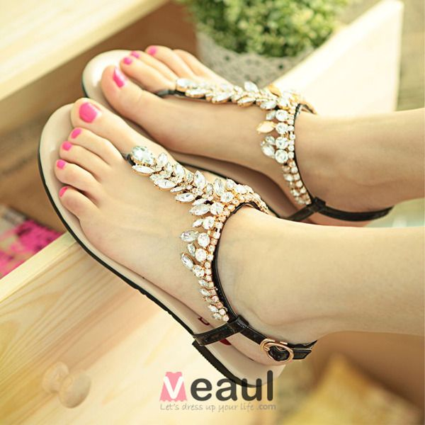 Fashion Sandals Leatherette Ladies Shoes With Crystal