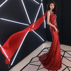 Sexy Rouge Robe De Soirée 2019 Trompette / Sirène Une épaule Paillettes Faux Diamant Cristal Sans Manches Dos Nu Train De Balayage Robe De Ceremonie