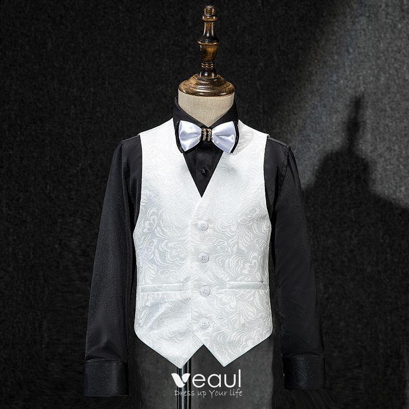 Białe Płaszcz Kamizelka Spodnie Krawat Czarne Koszula Haftowane Chłopięce Garnitury ślubne 2019
