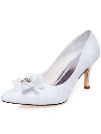 Elegant White Wedding Shoes Stiletto Heels Lace Pumps Satin Bridal Shoes With Flower
