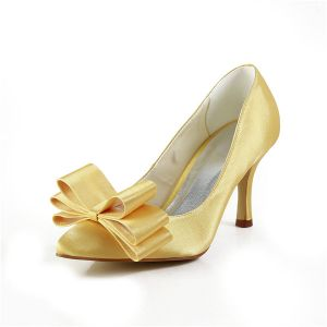 Chic Gold Wedding Shoes Satin Stilettos Pumps With Bow