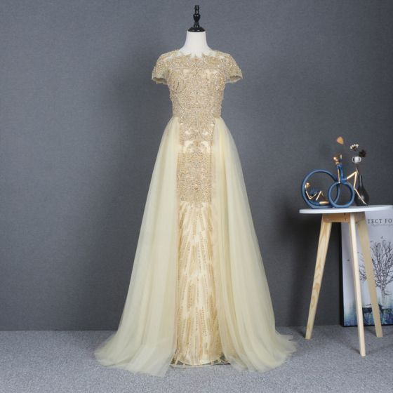 Iluzja Żółta Sukienki Na Bal 2020 Princessa Przezroczyste Wycięciem Kótkie Rękawy Frezowanie Cekiny Trenem Sweep Wzburzyć Sukienki Wizytowe