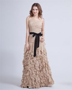 Off The Shoulder Belt Bowknot Ruffles Layer Upon Layer Floor Length Chiffion Evening Dress