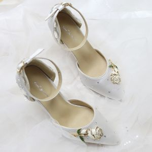 Luxury / Gorgeous White Dancing Red Carpet Wedding Beading Crystal Rhinestone Wedding Shoes 2018