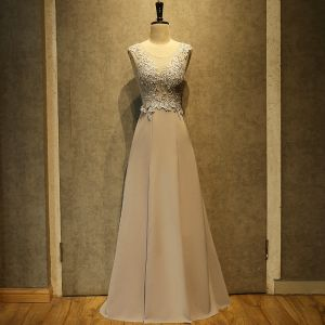 Chic / Beautiful Grey Evening Dresses  2018 A-Line / Princess Appliques Lace Sequins Scoop Neck Backless Sleeveless Floor-Length / Long Formal Dresses