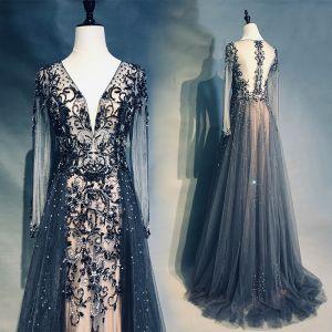 Haut de Gamme Bleu Marine Robe De Soirée 2019 Princesse V-Cou Fait main Perlage Cristal Faux Diamant Manches Longues Train De Balayage Robe De Ceremonie