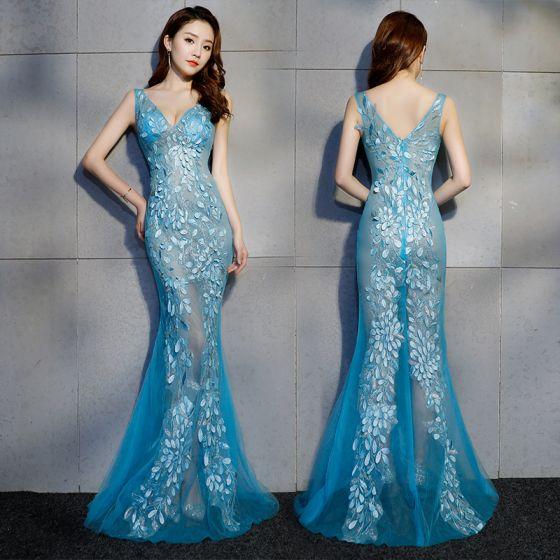 Sexy Océano Azul Transparentes Vestidos de noche 2019 Trumpet / Mermaid V-Cuello Sin Mangas Apliques Con Encaje Rebordear Largos Ruffle Sin Espalda Vestidos Formales