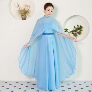 Schlicht Chinesischer Stil Himmelblau Lange Abendkleider 2018 A Linie Chiffon Mit Umhang Stehkragen Abend Festliche Kleider